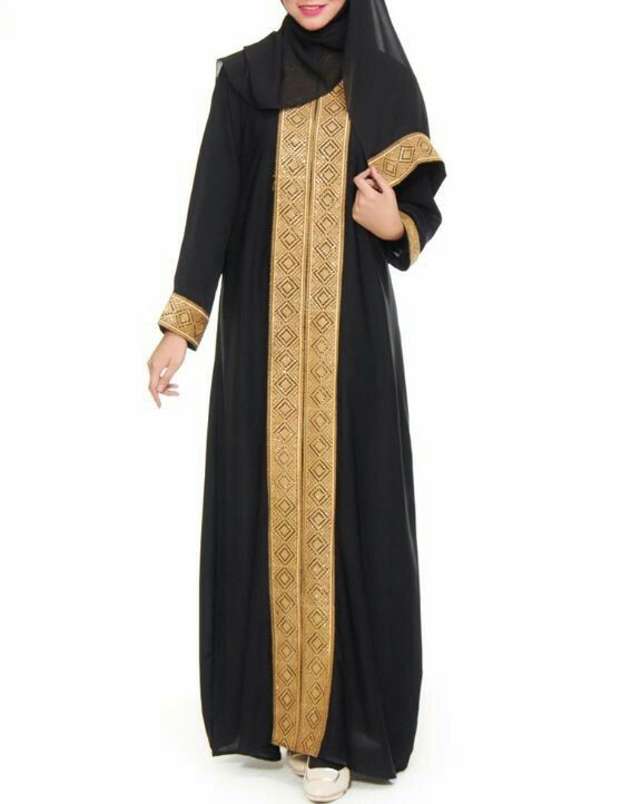 Jubah hitam gold dubai galtero pandangan depan #hijab #hijabfashion #fashion