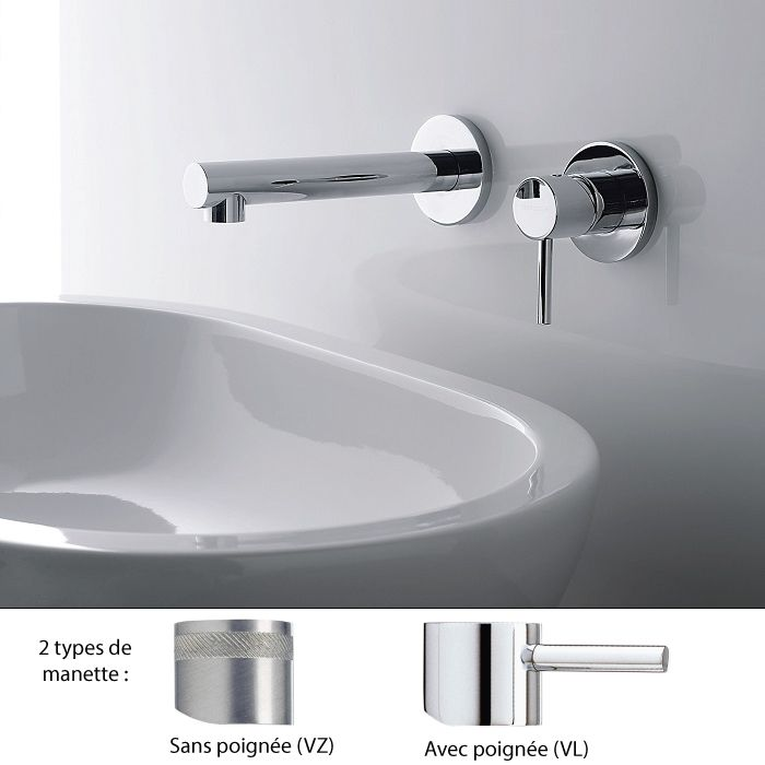 Mitigeur lavabo 2 trous encastrable design, bec 18 cm, VELA, Treemme ...
