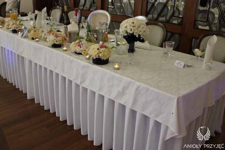 2. Mad Men's Wedding,Head table decor / Wesele w stylu Mad Men,Dekoracja stołu Pary Młodej,Anioły Przyjęć
