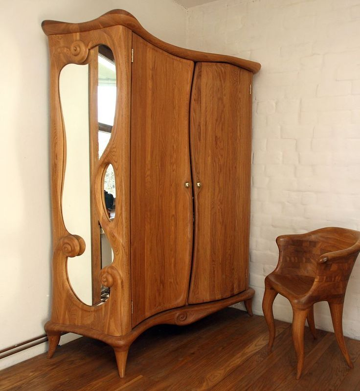 Carved wardrobe with mirror by Rimas Navickas. Unique FurnitureWooden ...