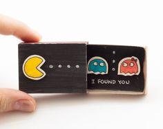 "Pacman Anniversary Love Card Matchbox ""I found you"" / Card / Gift box / Message box"