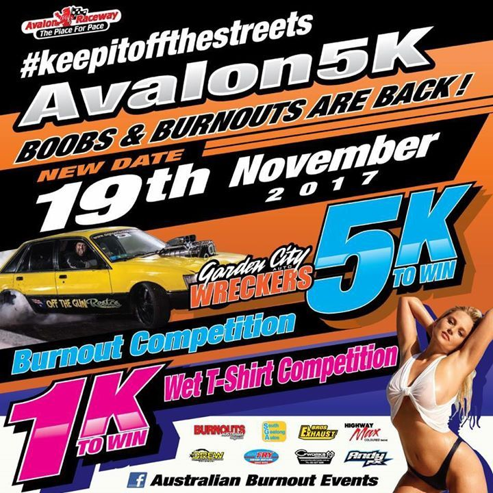 Avalon 5k Burnouts  - one of Australia's toughest burnout comps is back with $5,000 prize money for first in the Burnouts and $1,000 in the wet Tshirt contest. Adults $25, kids 12-17 $10. Under 12 free Australian Burnout Events / Burnouts Australia Magazine #dashcam #EpicFail #dashcamvideos #roadrage #insane #deathwish