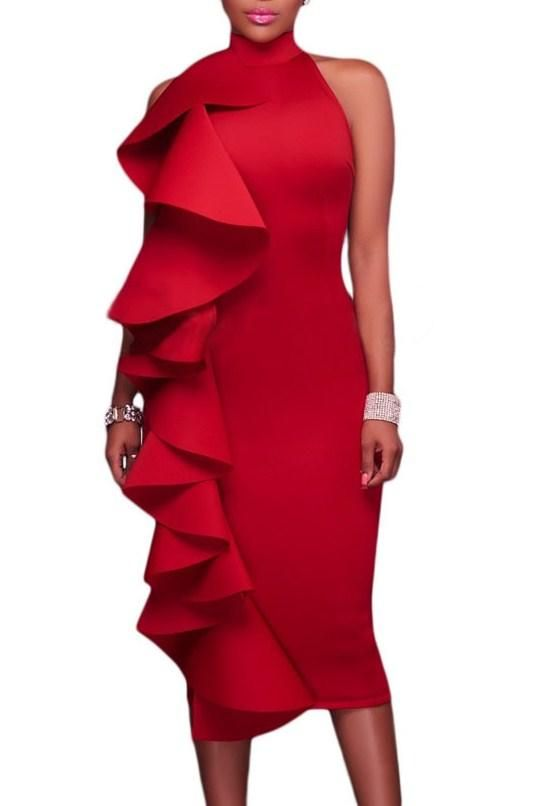 Robe de Soiree Rouge a Volant Mi longue Col Roule Dos Nu Pas Cher www.modebuy.com @Modebuy #Modebuy #Rouge #sexy #Rouge #femme