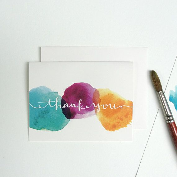 Thank You Notes With Watercolor Dots and Hand by anopensketchbook