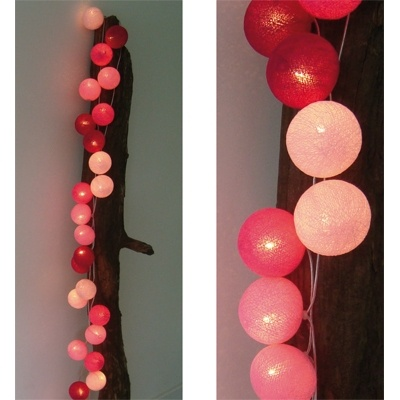 Lichtslinger Roze 35 bollen - Cotton Ball Lights