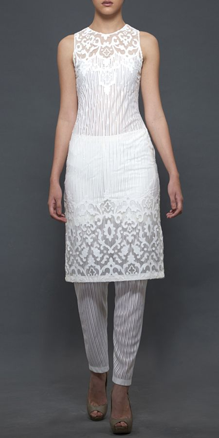 Plain White Kurti with Striped churidar - subtle and different