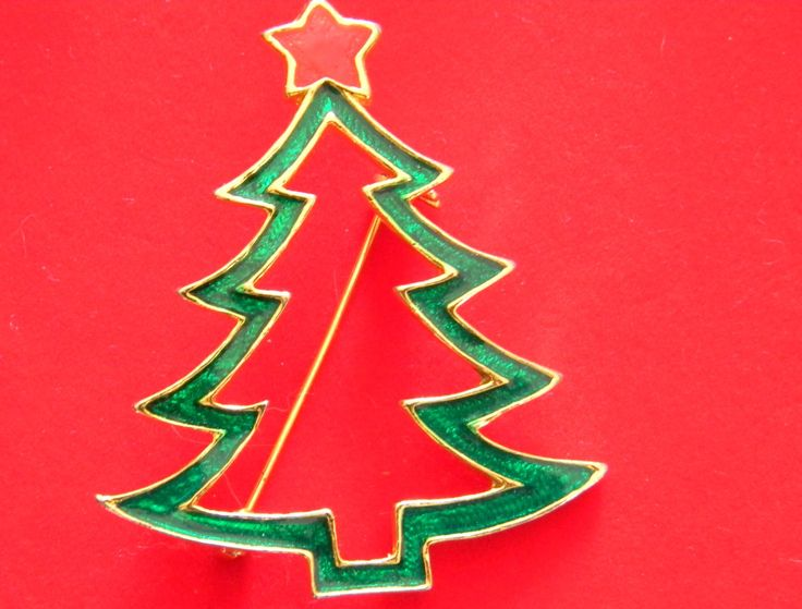 AAi Vintage Christmas Tree Signed Book Piece Brooch Pin Green Simple green outline of tree and trunk with crowning red star CT-11 by BlingItSanta on Etsy