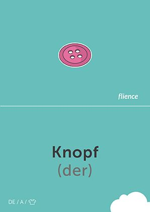 Knopf #CardFly #flience #clothes #german #education #flashcard #language