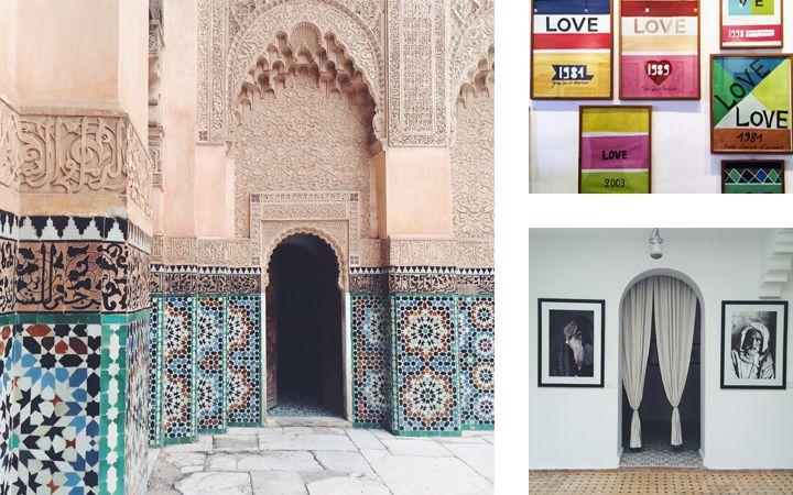 Luci, giochi di ombre e di colori si ammirano all'interno del cortile della Medersa Ben Youssef, la scuola coranica d'architettura arabo andalusa. Bellissime le decorazioni a stucco e i mosaici geometrici che percorrono tutte le pareti.