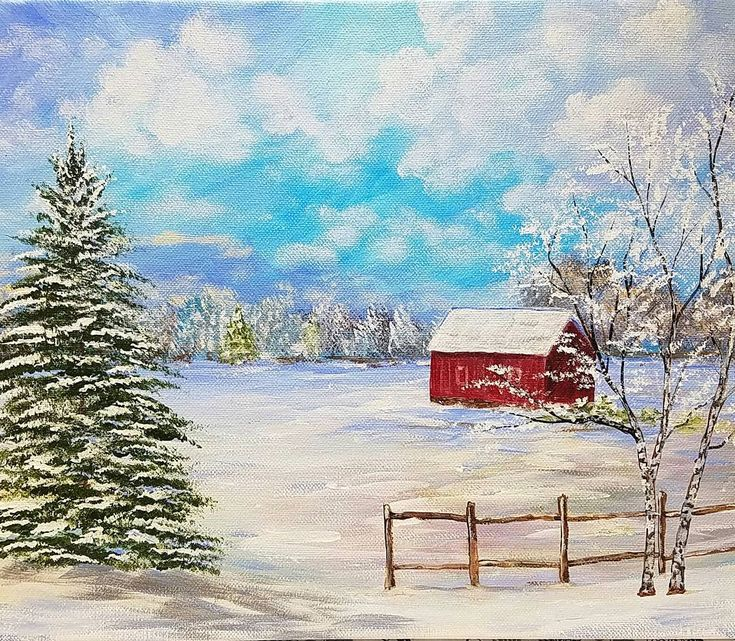 Log Cabin Canvas Painting For Beginners Step By Step