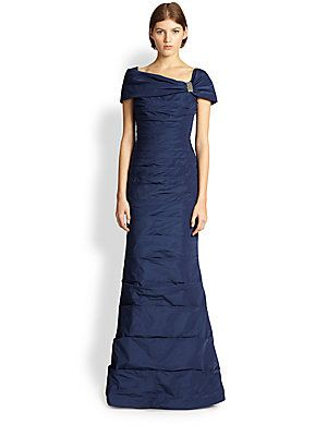 Navy- could use some more bling but this neckline looks fab on you Teri Jon Pleated Taffeta Gown