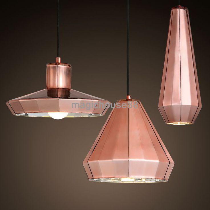 Hanging Light Up Mirror: Vintage Copper Mirror Glass Black Pendant Light Ceiling