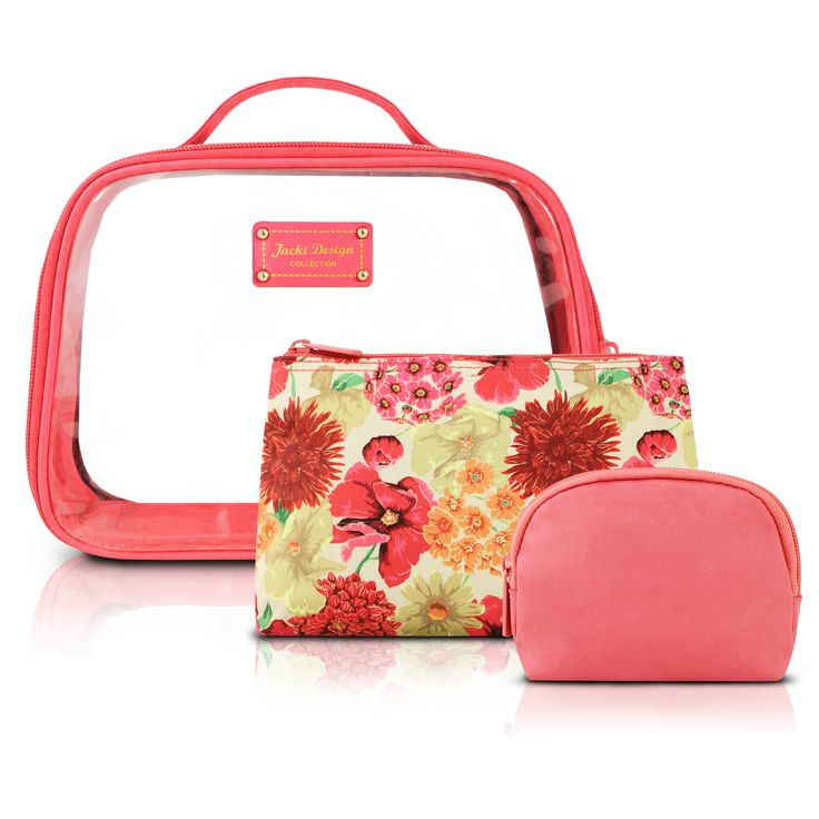 jacki design miss cherie 3piece cosmetic toiletry bag set with rounded bag