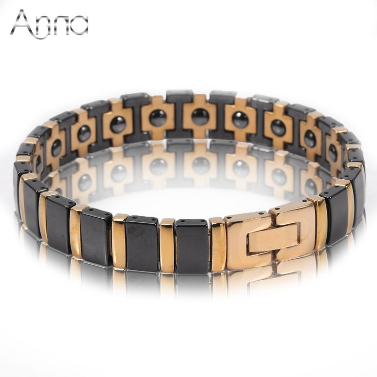 A&N Stainless Steel Bangle Bracelets Black Ceramic Hologram Bracelets Healing Energy Bangle Solid Gold Silver Plated Men Jewelry