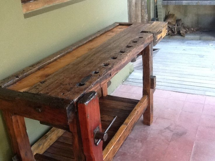 Antigua mesa carpintero madera dura restaurada y laqueada for Mesa cocina rustica
