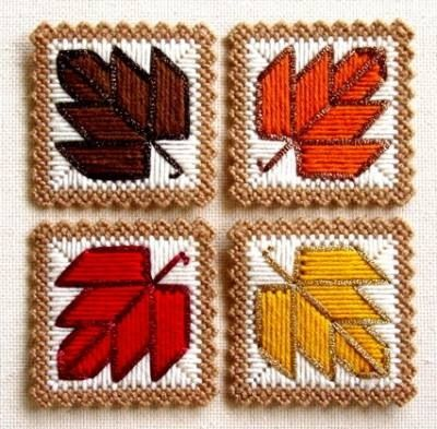 Plastic Canvas Pattern Autumn Leaves Coasters  Page 1/2
