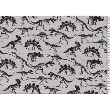 Bavlněný úplet Dinosauři na šedé