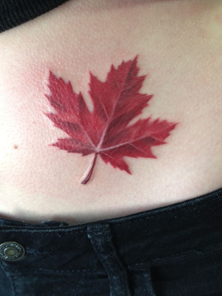 Canadian Maple Leaf Tattoo, love the shading size and detail! not a fan of the location