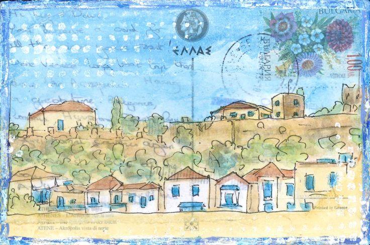 Village Stopover - Original art on vintage postcard by Gill Tomlinson