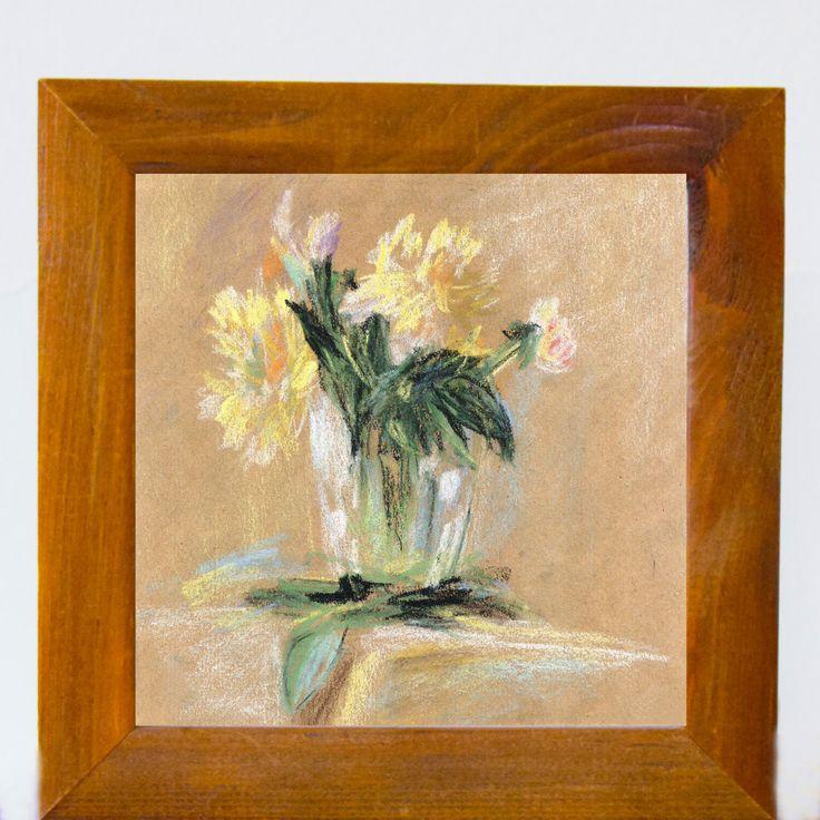 Flower Print, Printable Art, Flowers in crystal vase, Watercolor Flowers, digital Download, Wall Art, Home Decor, Wall Decor by EkaDS on Etsy