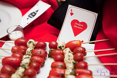 Appetizers with labels from playing cards