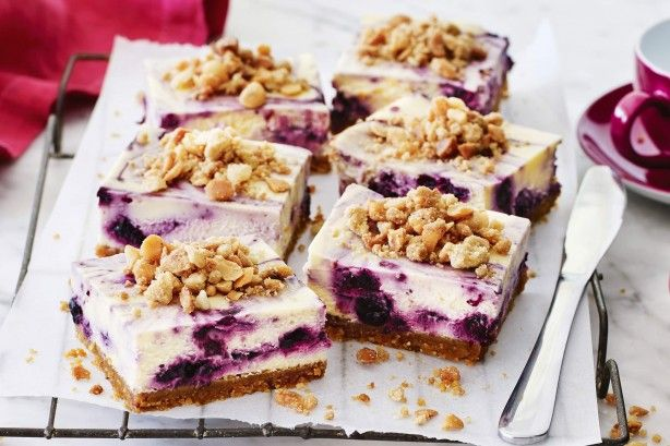 Try this sensational cheesecake slice made with fresh blueberries and macadamia nuts.