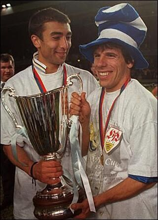 Di Matteo and little Gianfranco Zola, ECWC winners! www.classicfootballshirts.co.uk