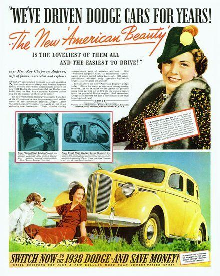Dodge Sedan Roy Chapman Andrews 1938 | Mad Men Art | Vintage Ad Art Collection