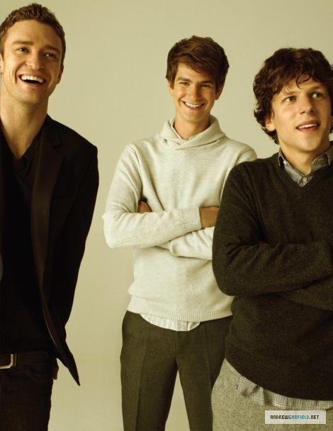 Justin Timberlake, Andrew Garfield, Jesse Eisenberg (Total Films photoshoot)
