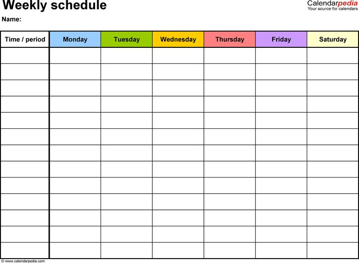 Weekly schedule template for Word version 7: landscape, 1 page, Monday to Saturday (6 day week), in color