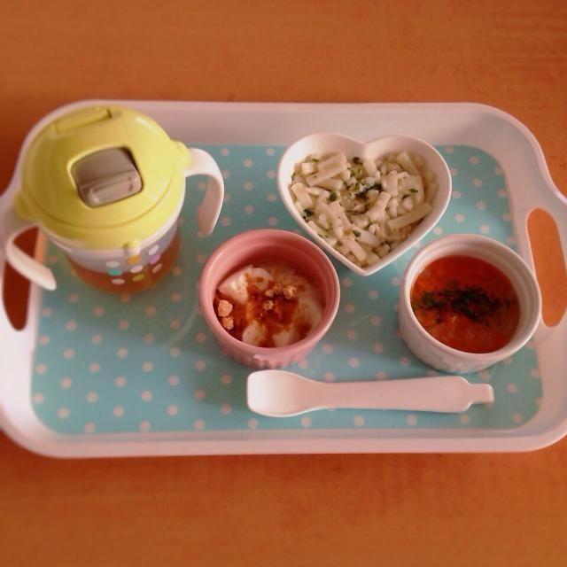 ♢ササミとワカメの餡掛けうどん ♢人参と大根のスープ ♢きな粉ヨーグルト ♢麦茶 - 5件のもぐもぐ - 離乳食 by はる