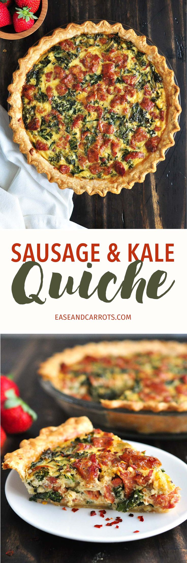 Sausage & Kale Quiche Recipe. A super easy, hearty quiche recipe that is great for Sunday brunch or even a weeknight dinner!