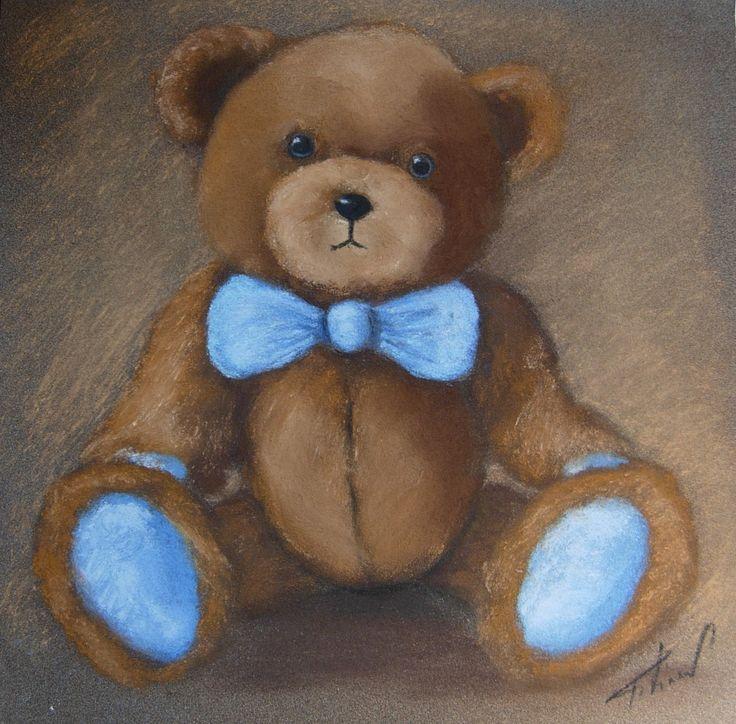 tableau nounours au pastel avec noeud bleu