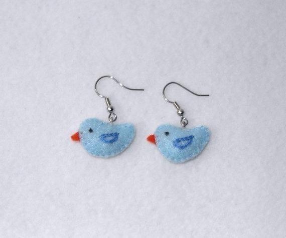 Plush Bluebird Earrings Felt Blue Bird Ear Rings Bluebird Felt Jewelry Felt Earrings Cute Bi Bird Ears Bird Earrings Blue Bird