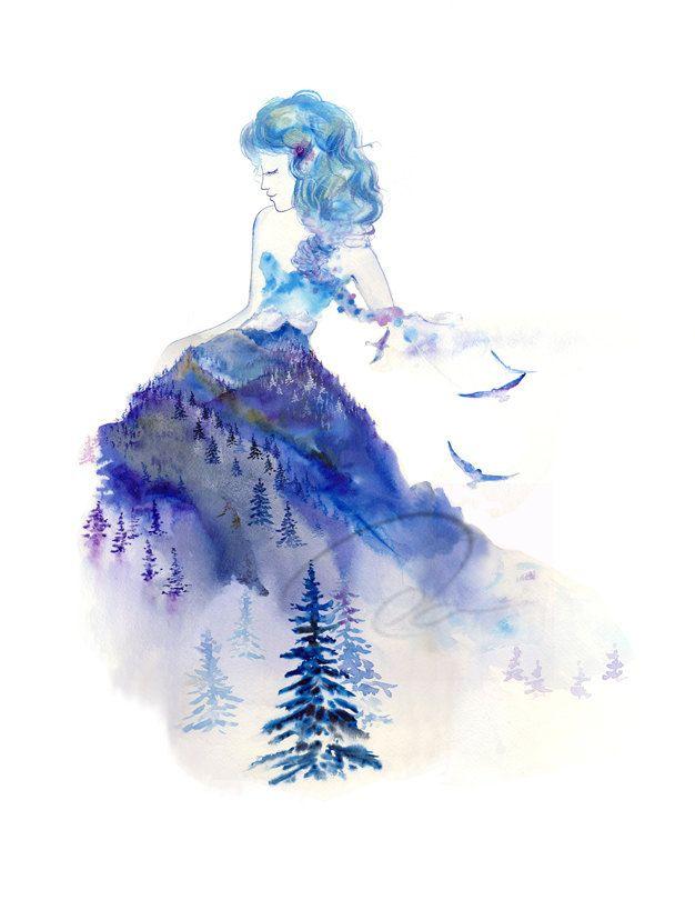 "8x10 Fine Art Print ""Jazz"" baby blue ink watercolor painting royal lady winter azure woman Whistler mountain Blackcomb peaks snow Oladesign."