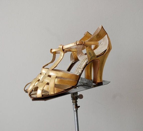 gold 1930s shoes