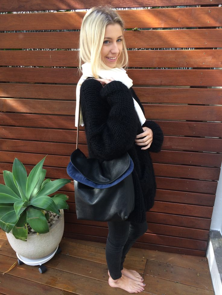 Chloe bag in Italian soft black leather with midnight blue suede lining and double stitched Sabbia leather strap.