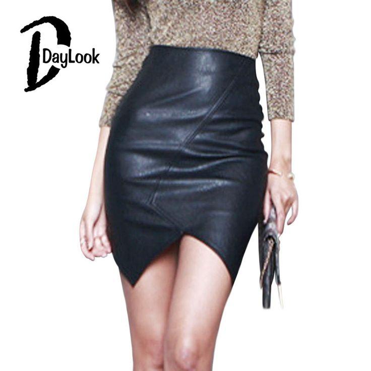 DayLook Women Skirts Black High Waist Asymmetric Hem Back Zipper Bodycon Mini Pencil PU Leather Skirt Plus Size S-L saia faldas