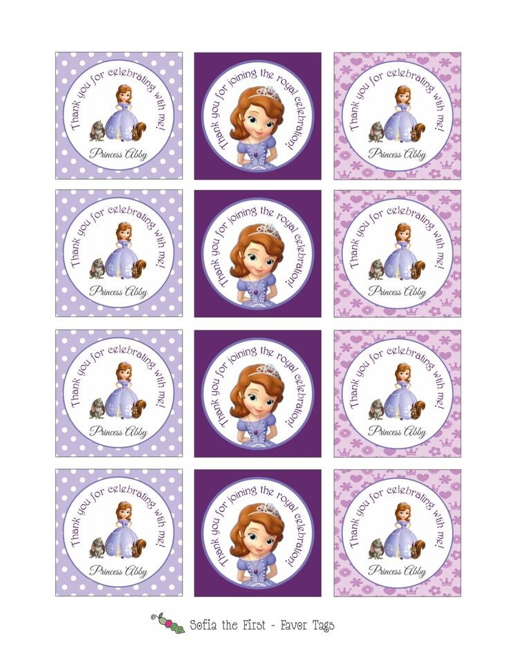 Printable SOFIA THE FIRST Stickers or Gift Tags (Great to be used as Party Favor Tags or even Cupcake Toppers). $6.00, via Etsy.