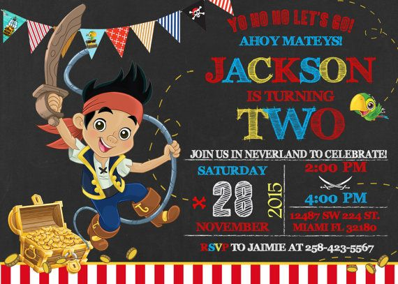 Jake and the Neverland Pirates Birthday Invitation by LuckyPixel