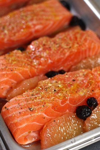 Saumon au pamplemousse & cranberries, purée de patate douce poisson 1 recettes
