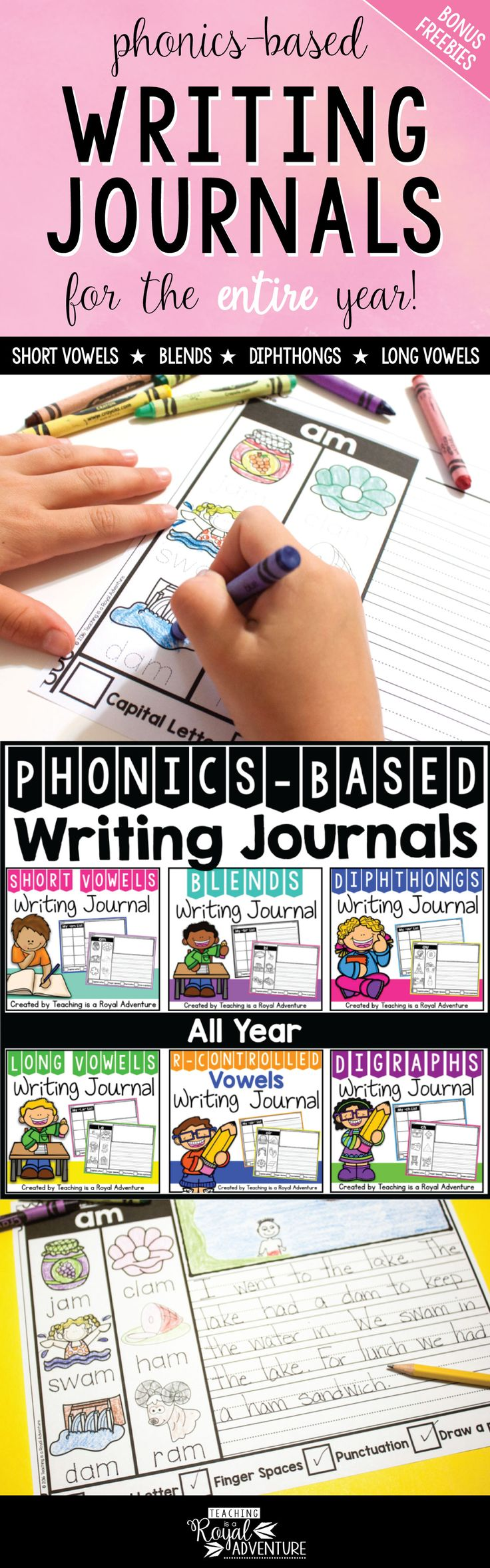 Phonics-based writing journal for the entire year. What is included? Phonics-Based Writing Journal Cover for each phonics skill. Additional paper included.