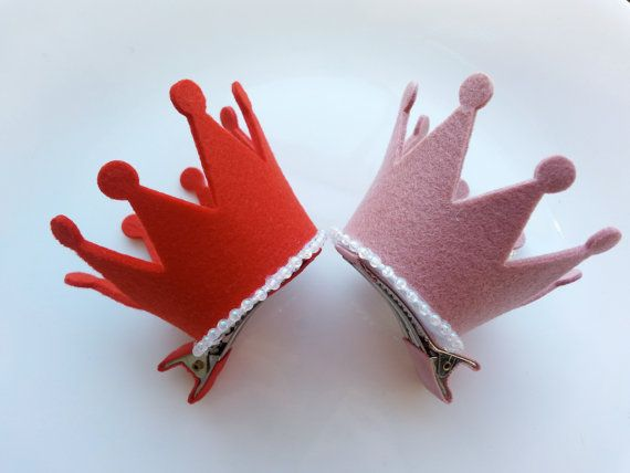 Girls/Baby Crown Hair Clip, Pink/Red Felt Crown Hair Clip, Red Felt Crown, Pink Felt Crown, Princess Hair Clip, 1st Birthday Hairclip