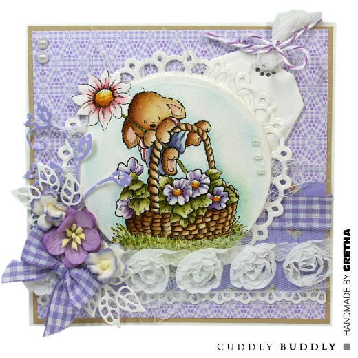 Pachela Studios Digi Stamp - Toby Tumble Say It With Flowers < Craft Shop   Cuddly Buddly Crafts