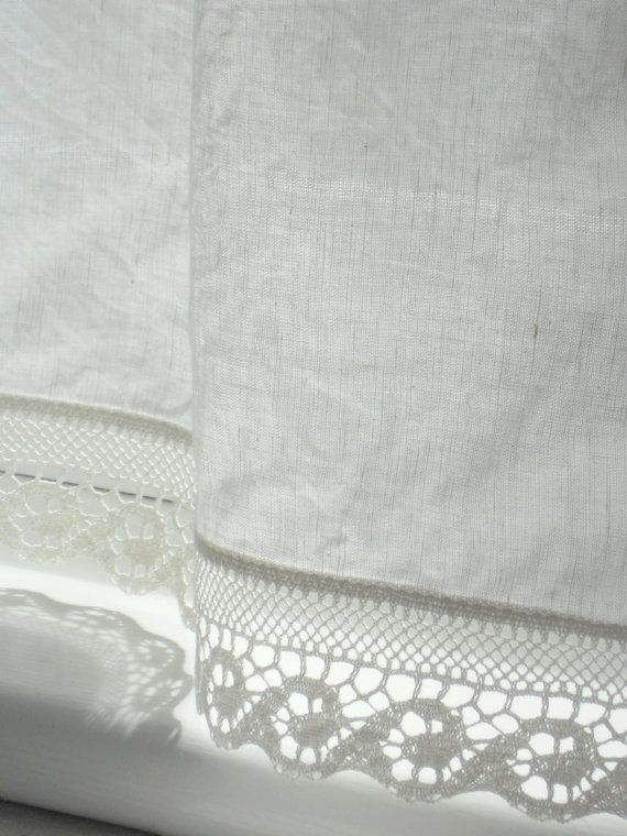 Linen bathroom window curtains with wave lace edge trim natural white linen cafe curtain panel french cottage style valance  Perfect for french cottage