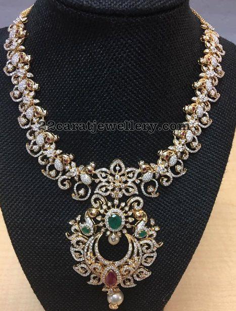 Peacock Mini Diamond Set - Jewellery Designs