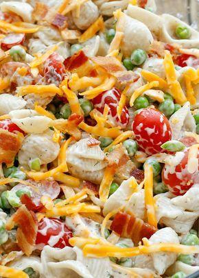 Bacon Ranch Pasta Salad - get the recipe at barefeetinthekitchen.com