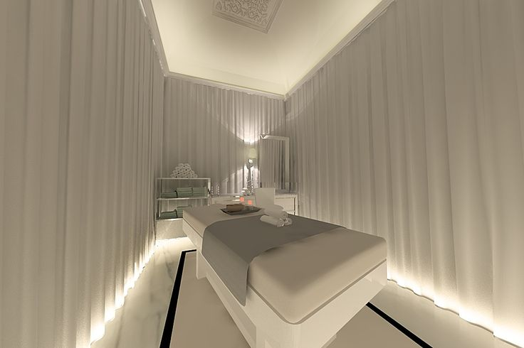 LOVE this idea of backlighting the tips of these curtains in each treatment room