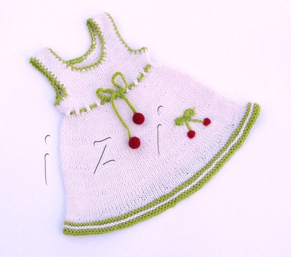 White baby dress Dress with cherries for little by iziknittings, $30.00