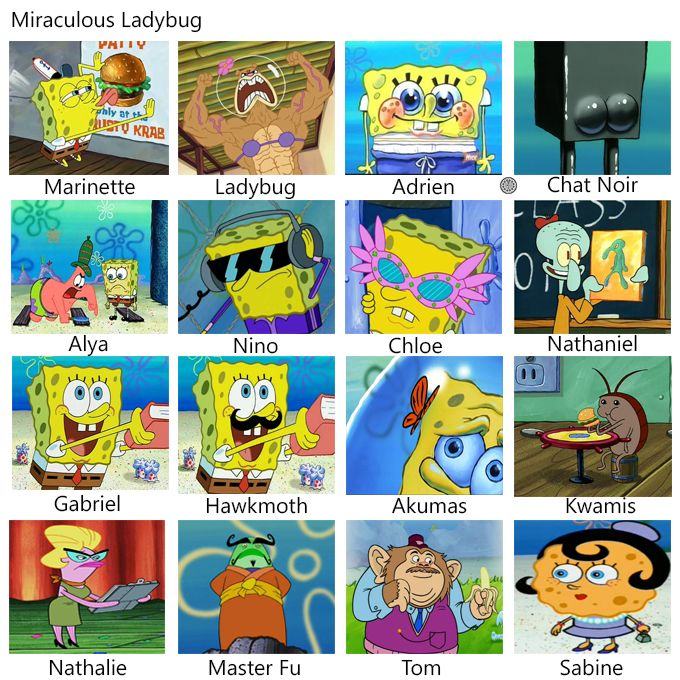 Image result for miraculous ladybug as told by spongebob. Why are all these 1000% accurate! #cattraining